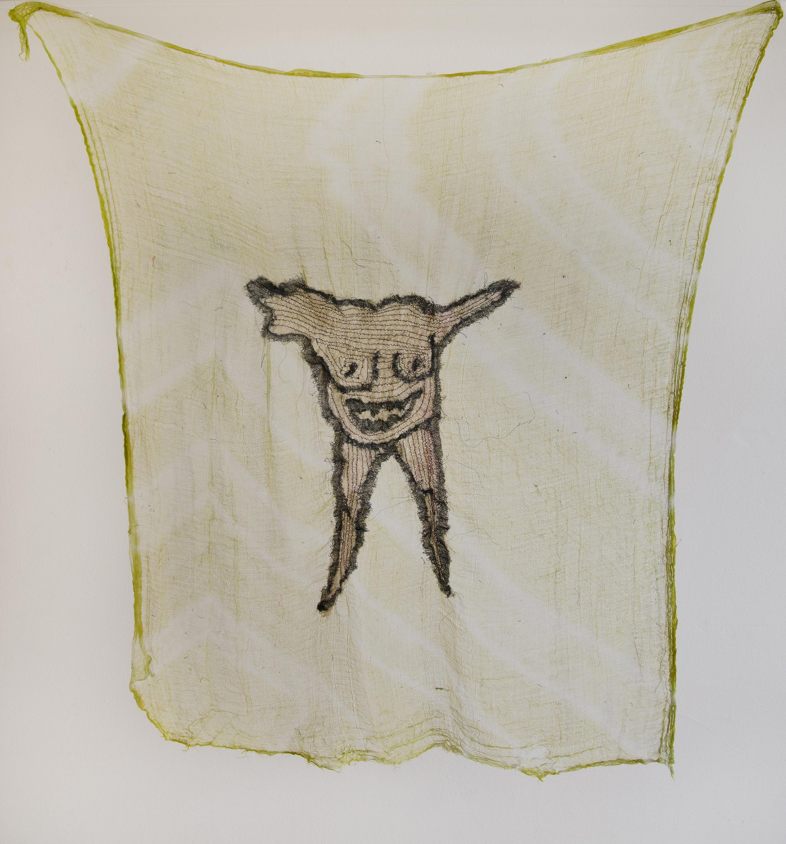 """Gunes Terkol """"Kahkaha"""" 2017, doğal boyanmış kumaşlar üzerine dikiş ve dokuma,100x110 cm."""
